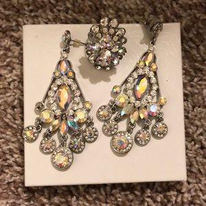 Iridescent Earrings & ring